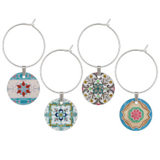 Peranakan Floral Tiles Wine Glass Charm