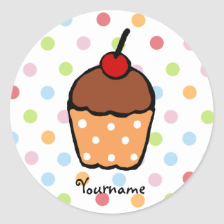 Peraonalized Sweet Chocolate Cupcake Classic Round Sticker