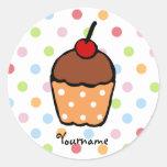 Peraonalized Sweet Chocolate Cupcake Classic Round Sticker