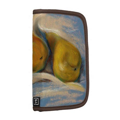 Peras amarillas en el dibujo en colores pastel del planificador