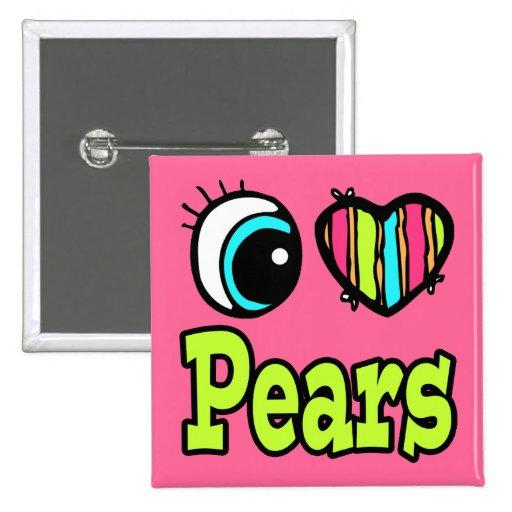 Peras brillantes del amor del corazón I del ojo Pin Cuadrado