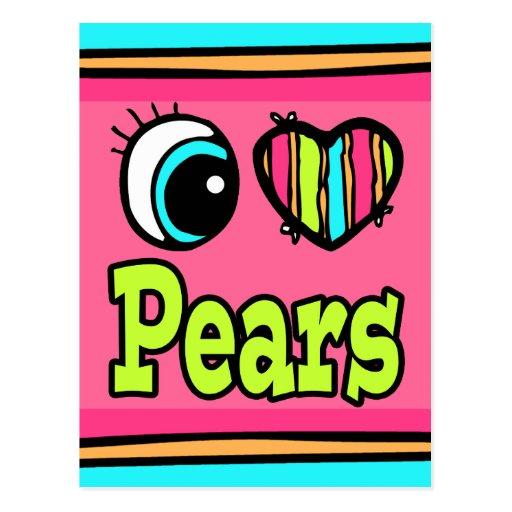 Peras brillantes del amor del corazón I del ojo Tarjetas Postales