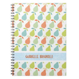 Peras coloridas y modelo inconsútil de las rayas spiral notebook