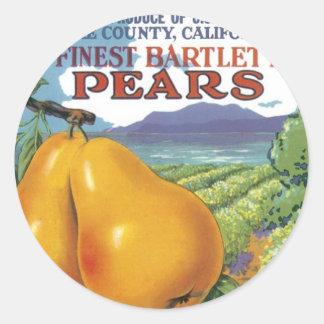 Peras de bartlett del rancho del quercus pegatina redonda