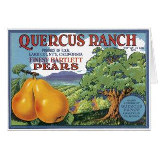 Peras de bartlett del rancho del quercus felicitacion