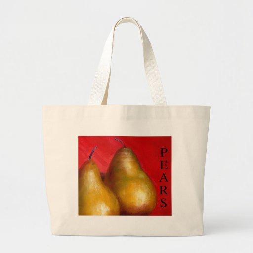 Peras de oro en fondo rojo bolsas de mano