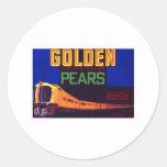 Peras de oro pegatina redonda