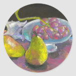 peras de uvas pegatina redonda