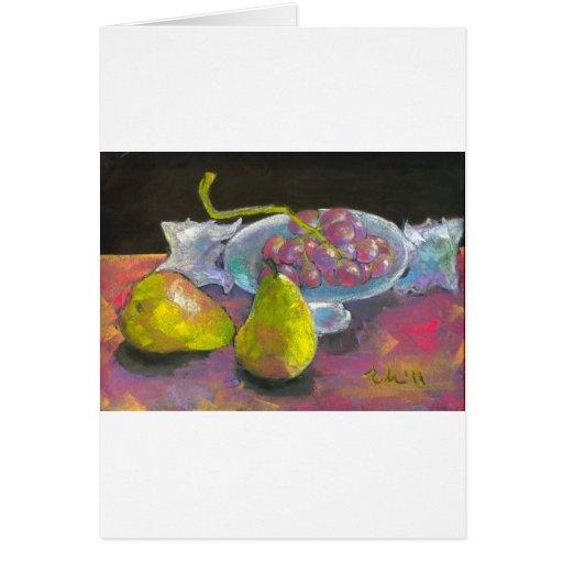 peras de uvas tarjeta de felicitación