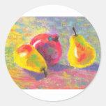 peras impresionistas en colores pastel pegatina redonda