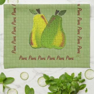 Peras texturizadas (verde tejado) toalla de mano