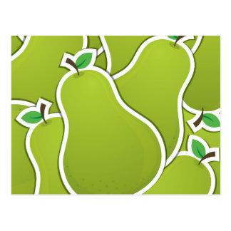 Peras verdes enrrolladas tarjeta postal