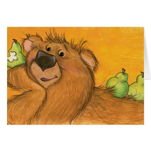 Peras y tarjeta del oso/de nota