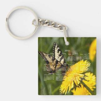 Perca de la mariposa; Calendario 2013 Llavero Cuadrado Acrílico A Una Cara