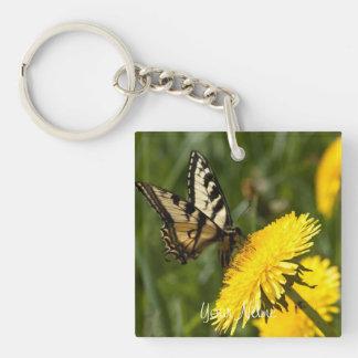 Perca de la mariposa; Personalizable Llavero Cuadrado Acrílico A Una Cara