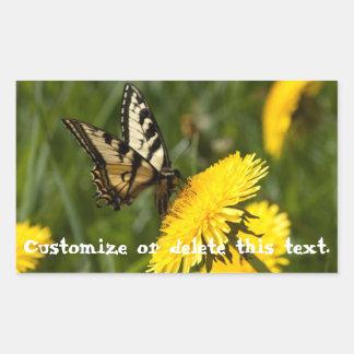 Perca de la mariposa; Personalizable Rectangular Pegatinas