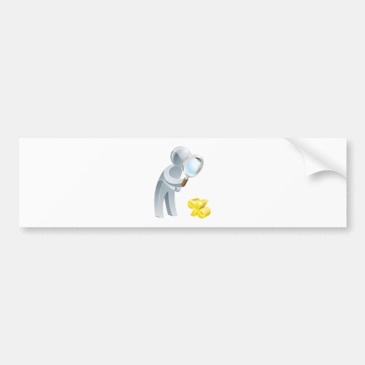 Percent sign magnifying glass person bumper stickers