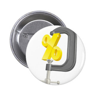 Percentage sign in clamp concept pinback button