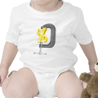 Percentage sign in clamp concept baby bodysuits