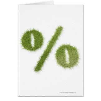 Percentage symbol made of grass card