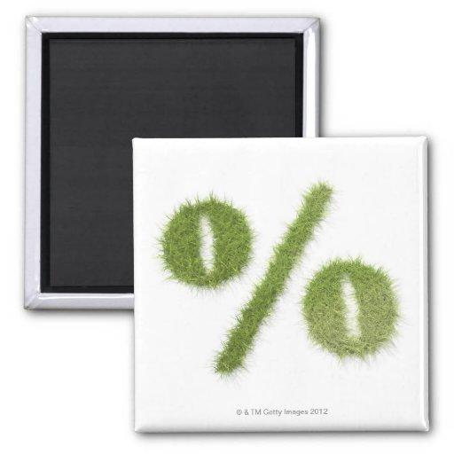 Percentage symbol made of grass 2 inch square magnet