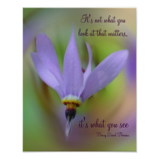 Perception Quote Purple Flower Inspirational Poster