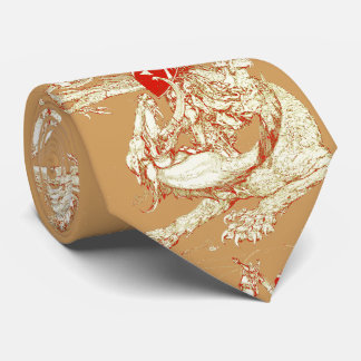 PERCEVAL AND DRAGON,QUEST HOLY GRAIL Fantasy Brown Tie