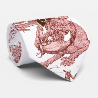 PERCEVAL FIGHTING DRAGON,QUEST HOLY GRAIL Fantasy Neck Tie