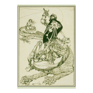 PERCEVAL FIGHTING DRAGON,QUEST HOLY GRAIL Fantasy Poster