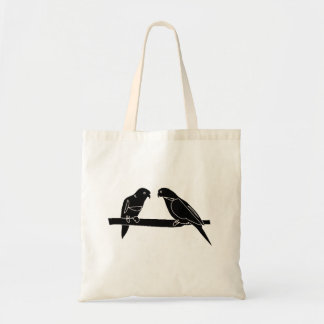 Perched Birds Silhouette Canvas Bags