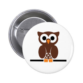 Perched Brown Owl Button