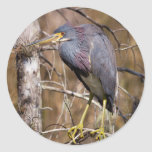 Perched Heron Round Stickers