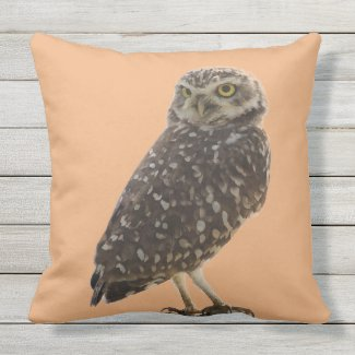 Perched Owl Image Throw Pillow