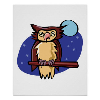 perched owl in the moonlight poster