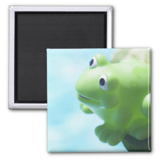 Perched Rubber Frog 2 Inch Square Magnet