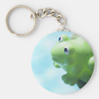Perched Rubber Frog Basic Round Button Keychain