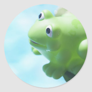 Perched Rubber Frog Classic Round Sticker