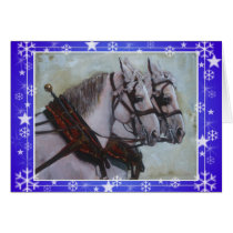 Percheron Draft Horse Christmas Card  blue