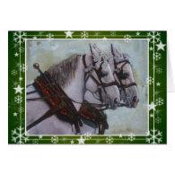 Percheron Draft Horse Christmas Card, green