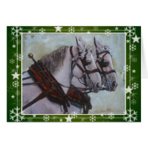 Percheron Draft Horse Christmas Card, green Card