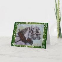 Percheron Draft Horse Christmas Card, green Holiday Card
