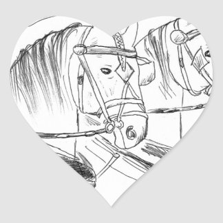 Percheron Draft horses Heart Sticker