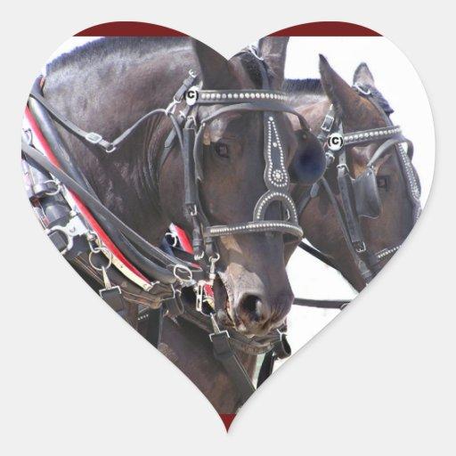 Percheron Horses Heart Sticker