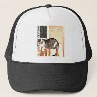 Perching Cat Digital Photograph Trucker Hat