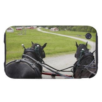 Perchon horses pulling cart  against historic tough iPhone 3 case