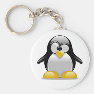 Percival the Peculiar Penguin Cartoon Basic Round Button Keychain