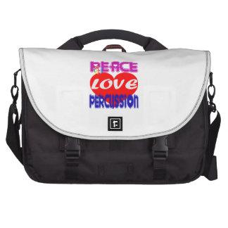 Percusión del amor de la paz bolsas de portatil