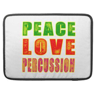 Percusión del amor de la paz funda para macbooks