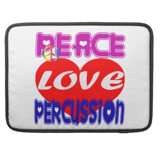 Percusión del amor de la paz fundas para macbook pro