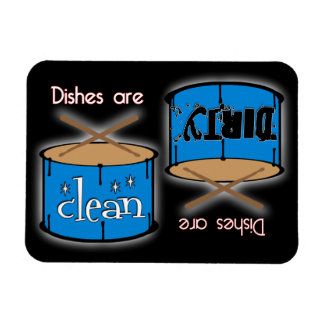 Percussion Drum Rectangle Black Dishwasher Magnet